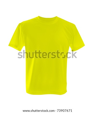yellow T-shirt ñan be used as design template. - stock photo