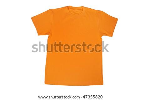 yellow t-shirt isolated on white - stock photo