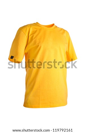 Yellow t-shirt isolated on white background
