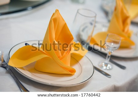 Yellow table at restaurant. - stock photo