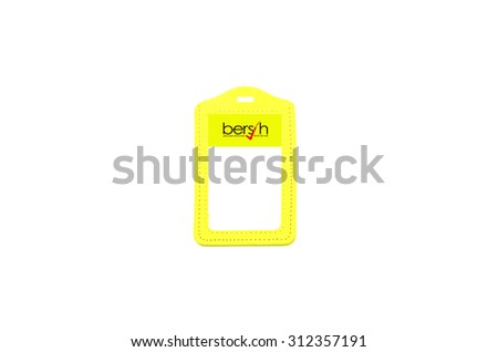 Yellow tag of Bersih on white background