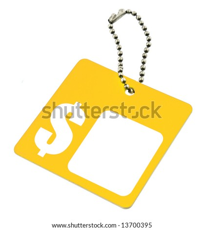 yellow tag with dollar symbol and copy space for price - stock photo