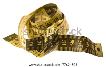 yellow tape measure isolated on a white background - stock photo