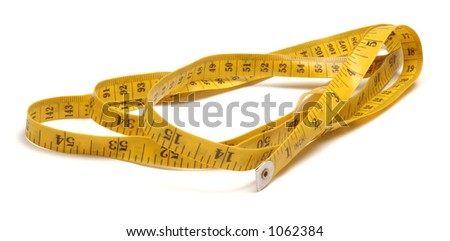 Yellow tape measure, isolated on white background.