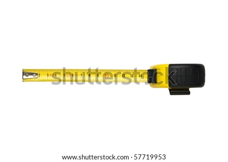 Yellow tape measure isolated on white background - stock photo