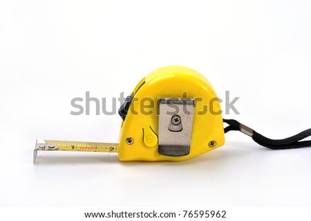 Yellow tape measure isolated on white background. - stock photo