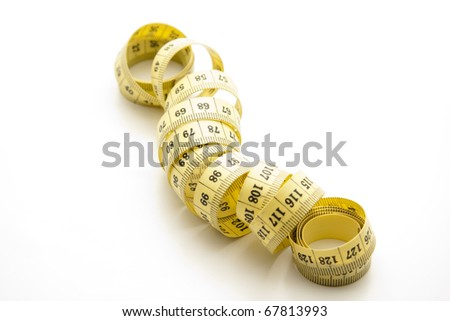 Yellow tape measure rolled