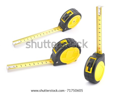 Yellow tape measure with soft shadow - stock photo