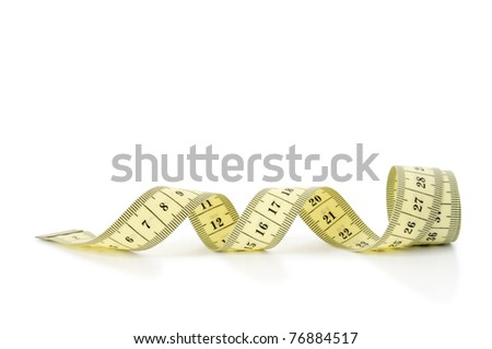 yellow tape measuring isolated on white - stock photo