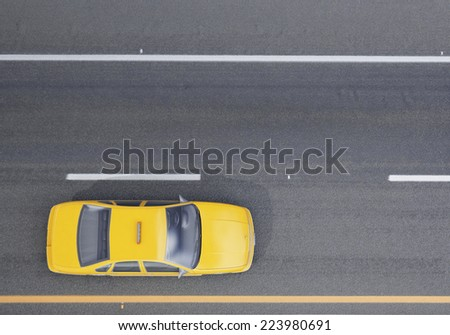 yellow taxi car on the road, background - stock photo