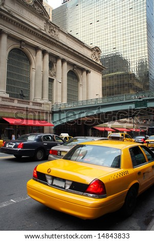 Yellow taxi in front of the Grand Central Terminal - New York City, USA - stock photo