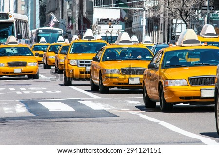 Yellow Taxi in New York - stock photo