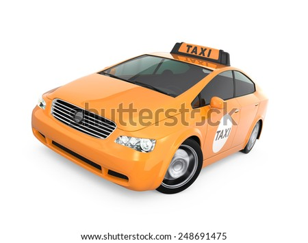 Yellow taxi isolated on white background - stock photo