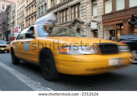 Yellow Taxi on Manhattan New York City - stock photo
