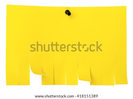 Yellow tear off paper notice on wall. Street advertisement template with copy space for text isolated on white - stock photo