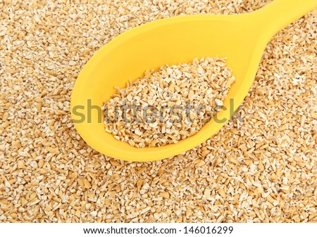 Yellow Teflon Spoon With Raw Steel Cut Oatmeal - stock photo