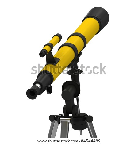 Yellow telescope on a white background.