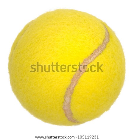 Yellow tennis ball isolated on white - stock photo