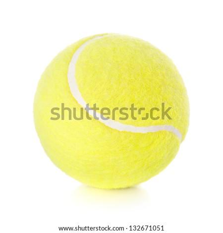 Yellow tennis ball isolated on white background - stock photo