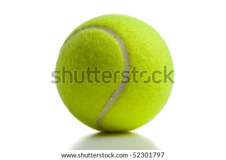 Yellow tennis ball over white with shadow below - stock photo