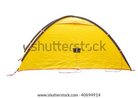 Yellow tent on white background - stock photo