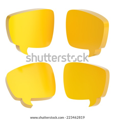 Yellow text bubble dimensional shapes isolated over the white background, set of four foreshortenings - stock photo
