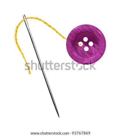Yellow thread, needle and button isolated on white background