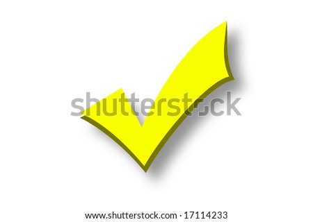 Yellow tick isolated over a white background - stock photo