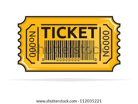 Yellow ticket - stock photo
