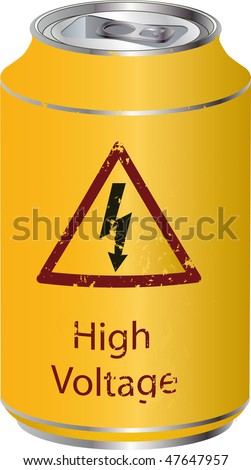 Yellow tin with a high voltage drink - stock photo