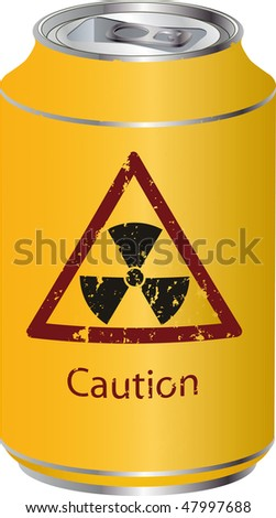 Yellow tin with a radioactive waste - stock photo