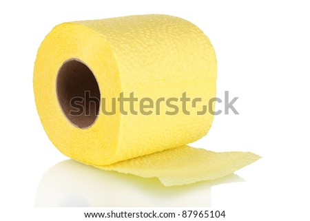 yellow toilet paper isolated on white - stock photo