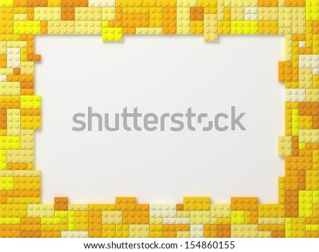 Yellow Tone Toy Bricks Picture Frame with white background. - stock photo