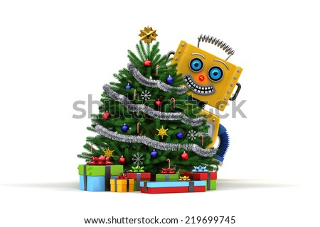 Yellow toy robot standing behind a nicely decorated christmas tree with presents over white background - stock photo