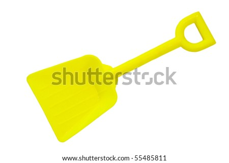 yellow toy shovel isolated on a white background - stock photo