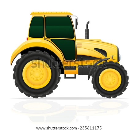 yellow tractor illustration isolated on white background - stock photo