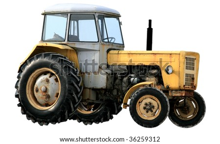 Yellow tractor isolated on white background - stock photo