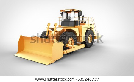 Yellow Tractor on the white background 3D renderig