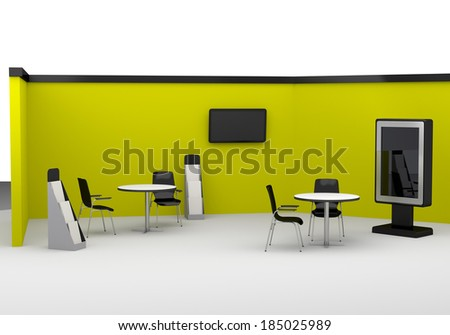 Yellow trade exhibition booth or stall