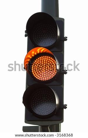 yellow traffic light - stock photo
