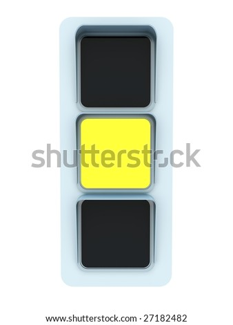 Yellow traffic light isolated on white