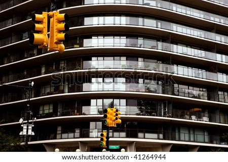 Yellow traffic lights in New York City - stock photo