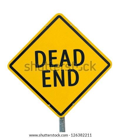 "Yellow traffic sign ""Dead end"" isolated on white background - stock photo"