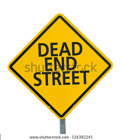 "Yellow traffic sign ""Dead end Street"" isolated on white background - stock photo"