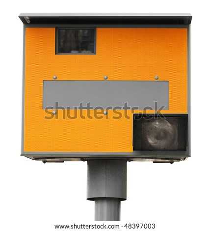 Yellow traffic speed camera isolated on white with clipping path - stock photo