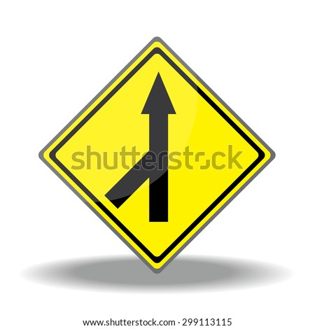 Yellow traffic square shaped Merging Lane Left type 1 sign on white background