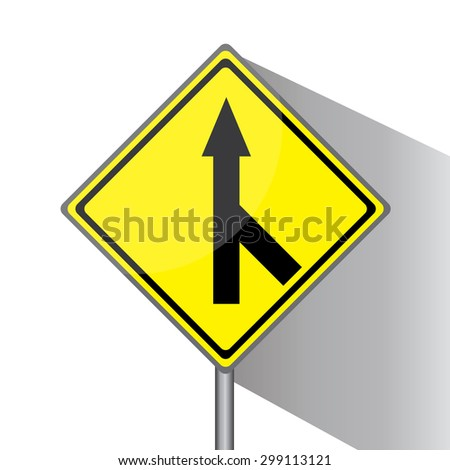 Yellow traffic square shaped Merging Lane Right type 1 sign with post on white background