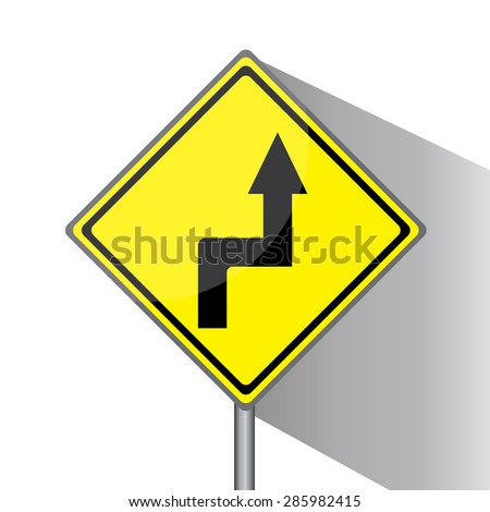 Yellow traffic square shaped Right Curve sign with post on white background