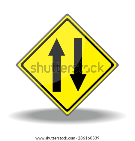 Yellow traffic square shaped Two-Way Traffic Ahead sign on white background