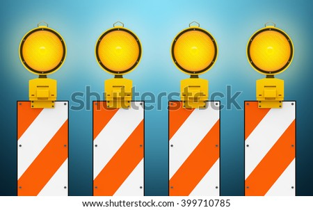 Yellow traffic warning lamps background 3d rendering - stock photo